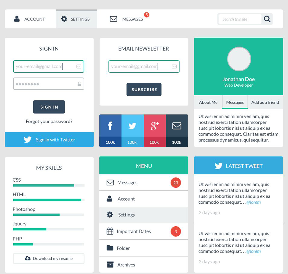 33 Best Free Flat Design UI Kits for Designers - SimpleFreeThemes