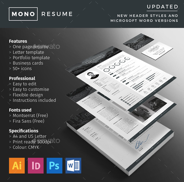 Mono Resume Is A Clean Simple And Bold Template Which Has Dark Background The Documentation Very Easy To Understand