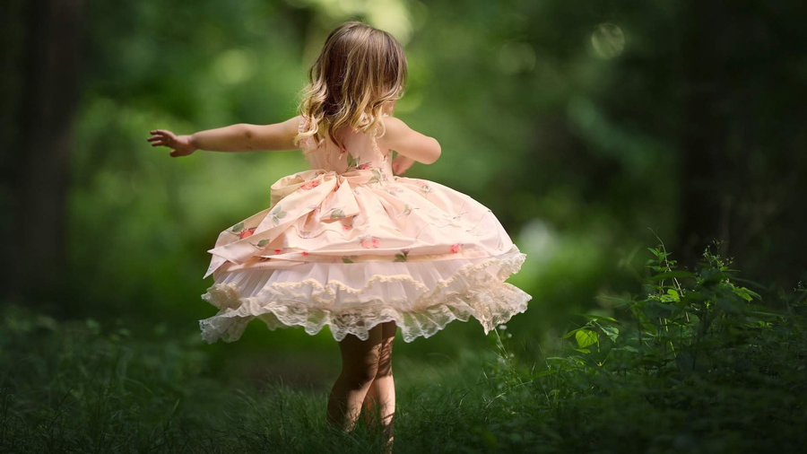 This Is A Photo Of Little Girl Dancing In Beautiful Pink Frock Which Will Look Perfect As Wallpaper
