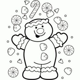 a gingerbread man with a lot of candies around him is waiting to be drawn by your hands showcase your artistic skills on this coloring page so that this